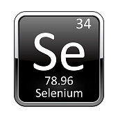 Selenium symbol.Chemical element of the periodic table on a glossy black background in a silver frame.Vector illustration.
