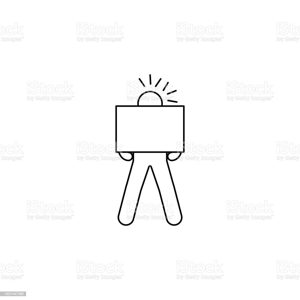 the person is assiduously carrying a box icon. Element of man carries...