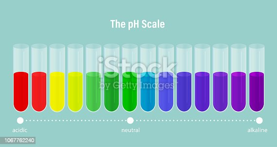 The pH scale. ph alkaline, neutral and acidic scale. Vector illustration of specifying the acidity of an aqueous solution.