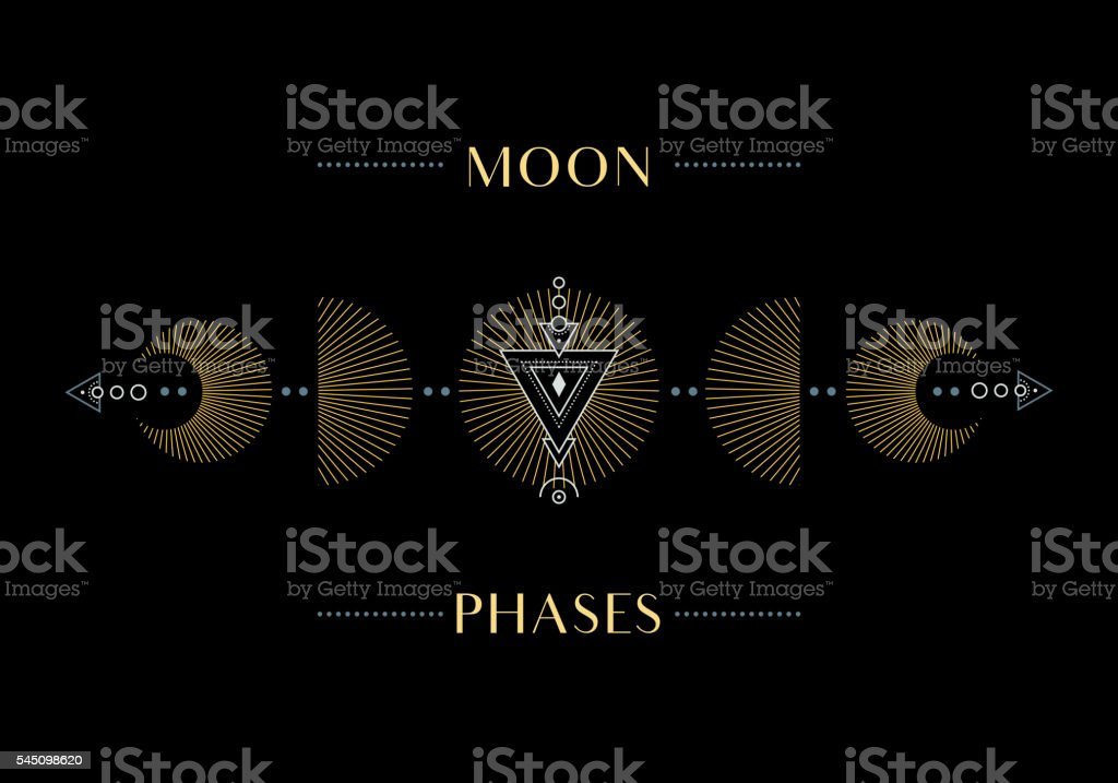 The Phases of the Moon vector art illustration