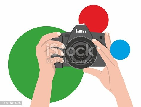 istock The photographer holds a camera in his hands, ready to take a good picture. Vector flat logo design for operators, reporters. Camera is isolated on a background of balls of red, green and blue 1297512975