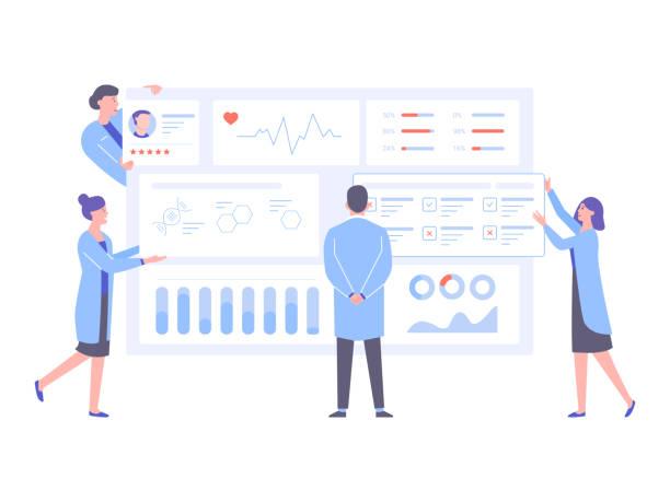 ilustrações, clipart, desenhos animados e ícones de o médico e os enfermeiros analisam os dados médicos do paciente. - pesquisa médica