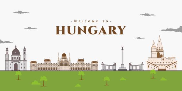 красивый пейзаж венгрии, европы на закате. панорамный вид спереди с достопримечательностями венгрии. туристическое направление, который в� - unesco stock illustrations
