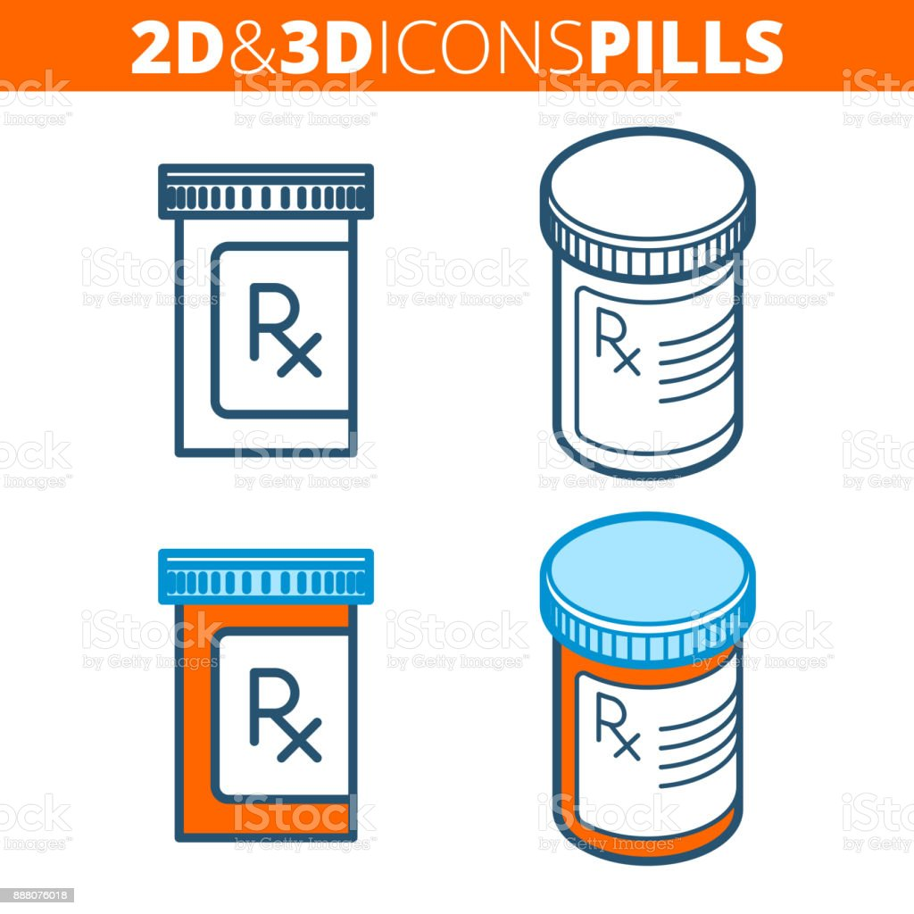 The pill bottle. Flat and isometric 3d outline icon set. vector art illustration