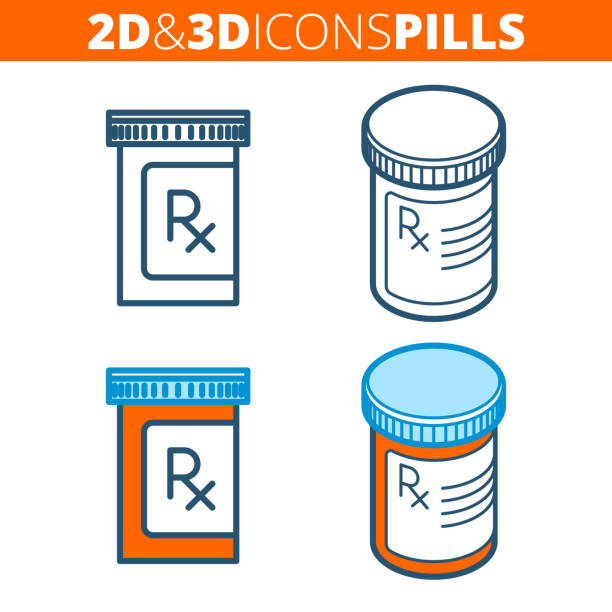 illustrazioni stock, clip art, cartoni animati e icone di tendenza di the pill bottle. flat and isometric 3d outline icon set. - farmaco
