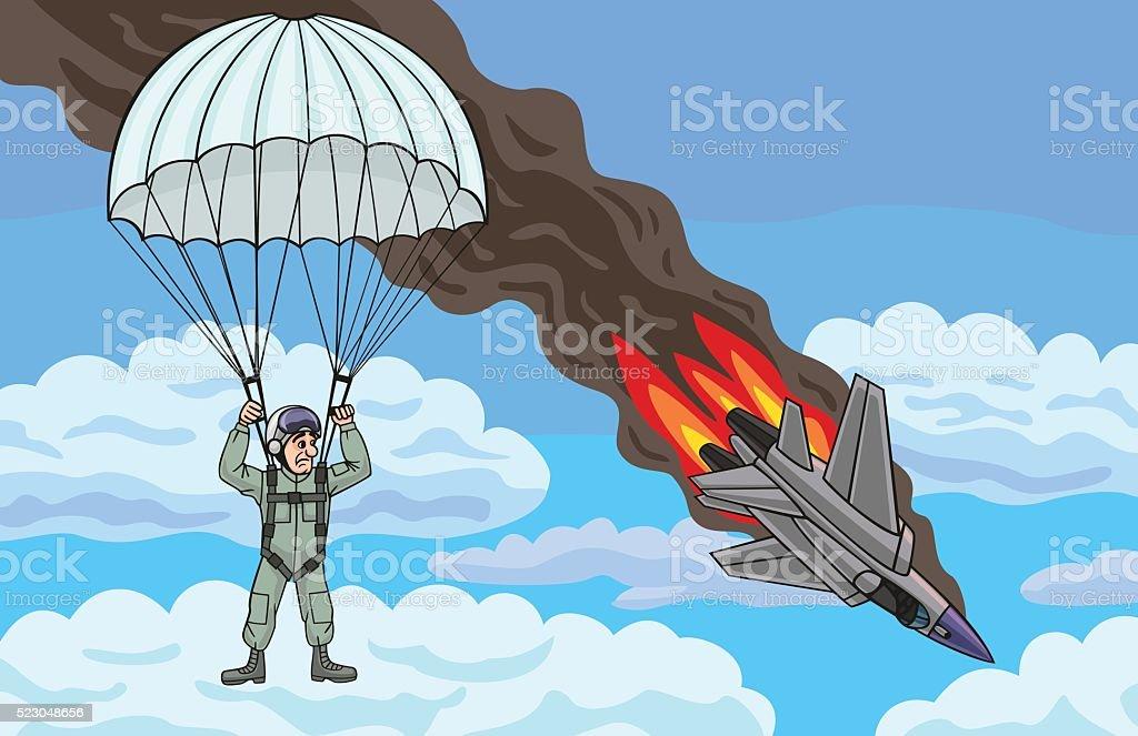 The pilot descends by parachute. vector art illustration