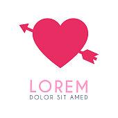 The pink heart logo pierced by the arrow