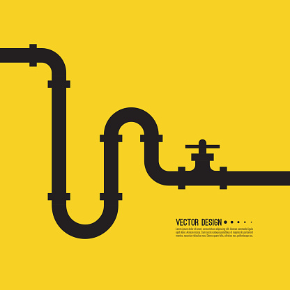 The pipeline with  stopcock, fittings and valves. Vector illustration.