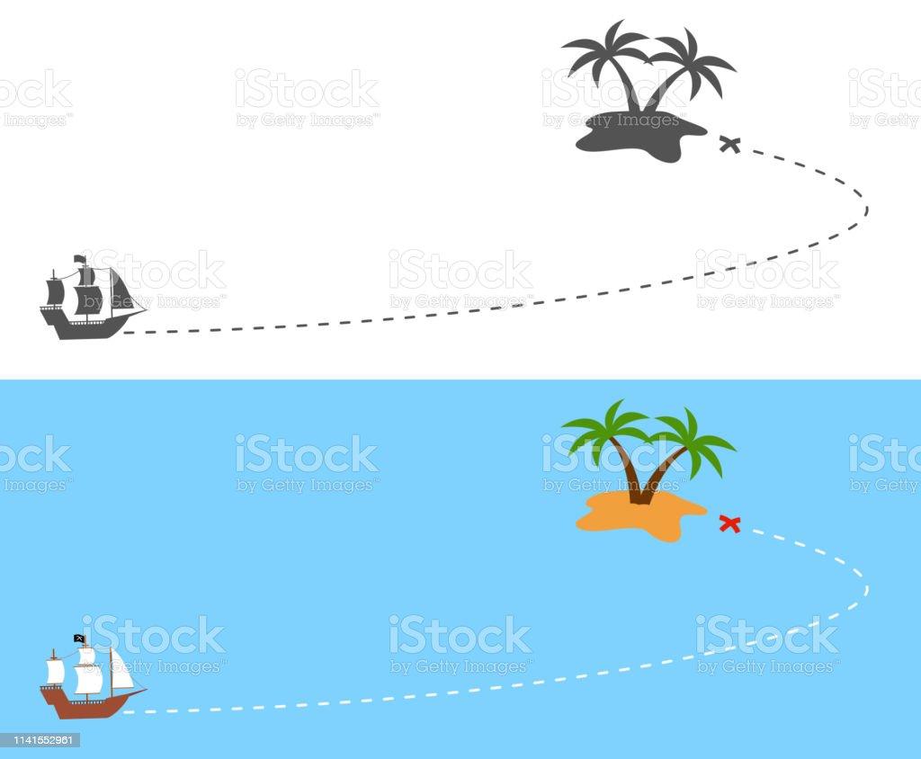 島への海賊船航行ルート - アイコンのベクターアート素材や画像を多数 ...