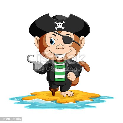istock The pirates monkey with only one eye is standing with only one leg in the island 1288193156