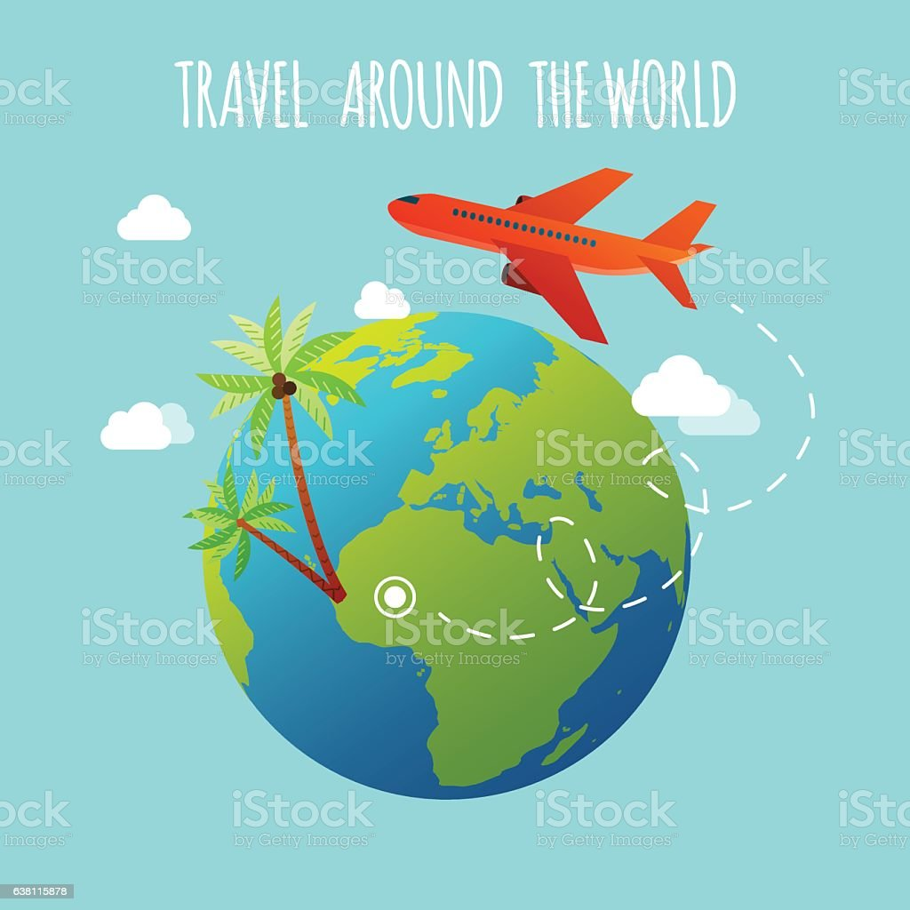 The plane is flying around the earth. Travel and Tourism. vector art illustration