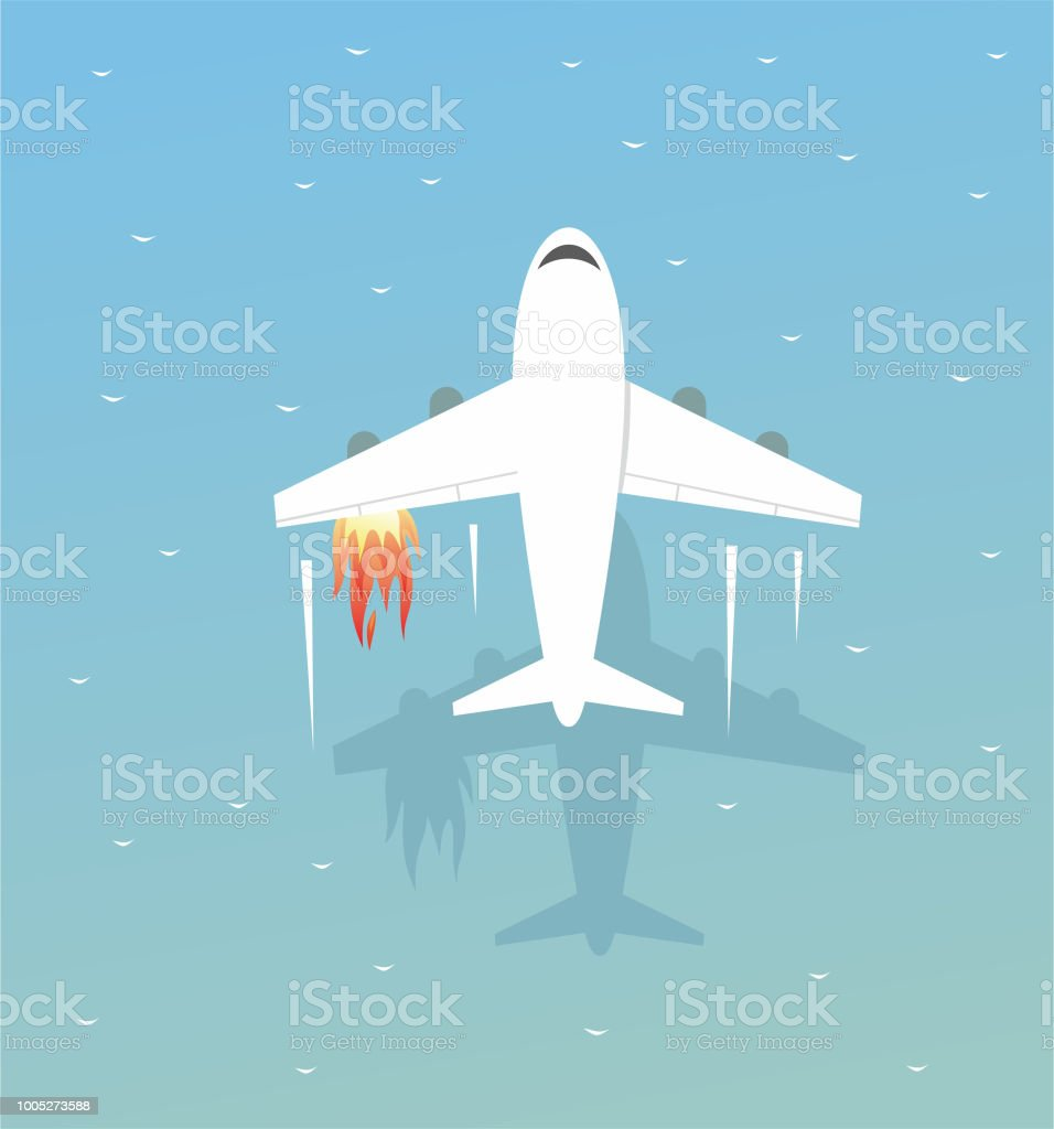The plane is forced to land on the sea vector art illustration