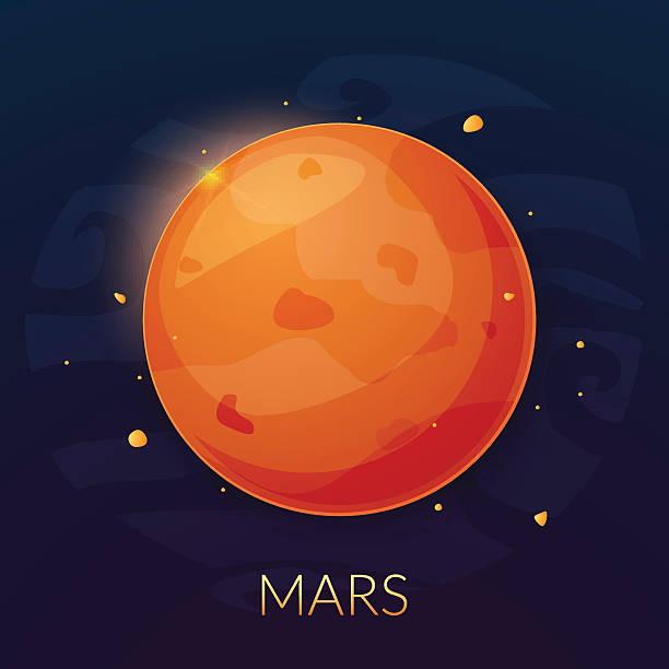illustrations, cliparts, dessins animés et icônes de la planète mars, illustration vectorielle - mars