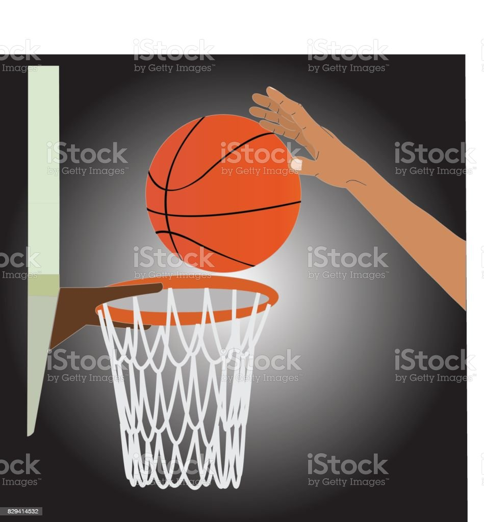 The player is shooting a basketball ball in a basketball hoop. vector art illustration