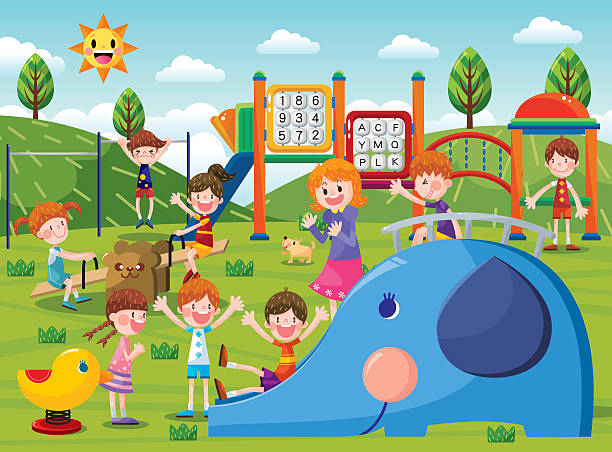 the playground - recess stock illustrations, clip art, cartoons, & icons