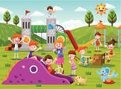 Kids in the playground.vector illustration