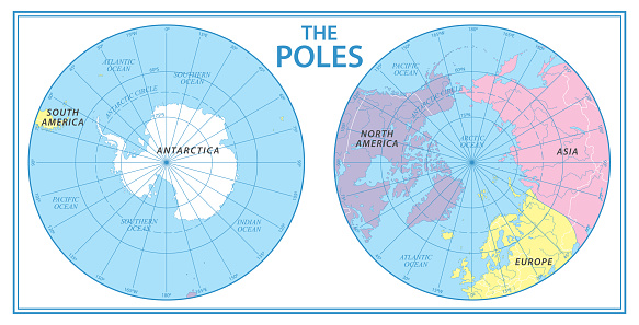 The Poles - North Pole and South Pole - Vector Detailed Illustration