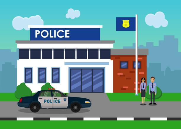 illustrations, cliparts, dessins animés et icônes de la voiture de police en face de la gare de la police. - commissariat