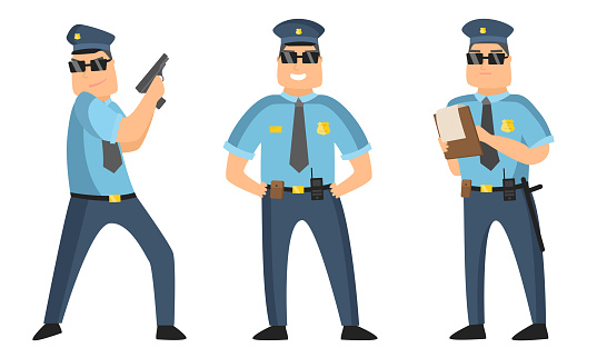 The police officer in black sunglasses standing in different poses with protocol and gun. Vector illustration in flat cartoon style
