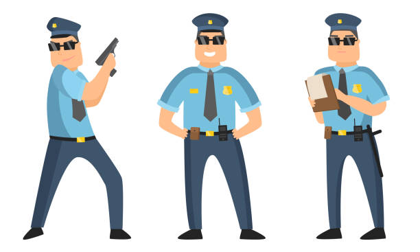 The police officer in black sunglasses standing in different poses with protocol and gun. Vector illustration in flat cartoon style Collection set of cartoon American policeman at work in various poses wearing dark blue pants and light blue shirts. Isolated icons set illustration on a white background in cartoon style. blue clipart stock illustrations