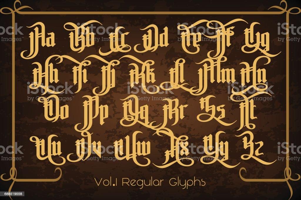 The Pontifice - vintage gothic label font vector art illustration