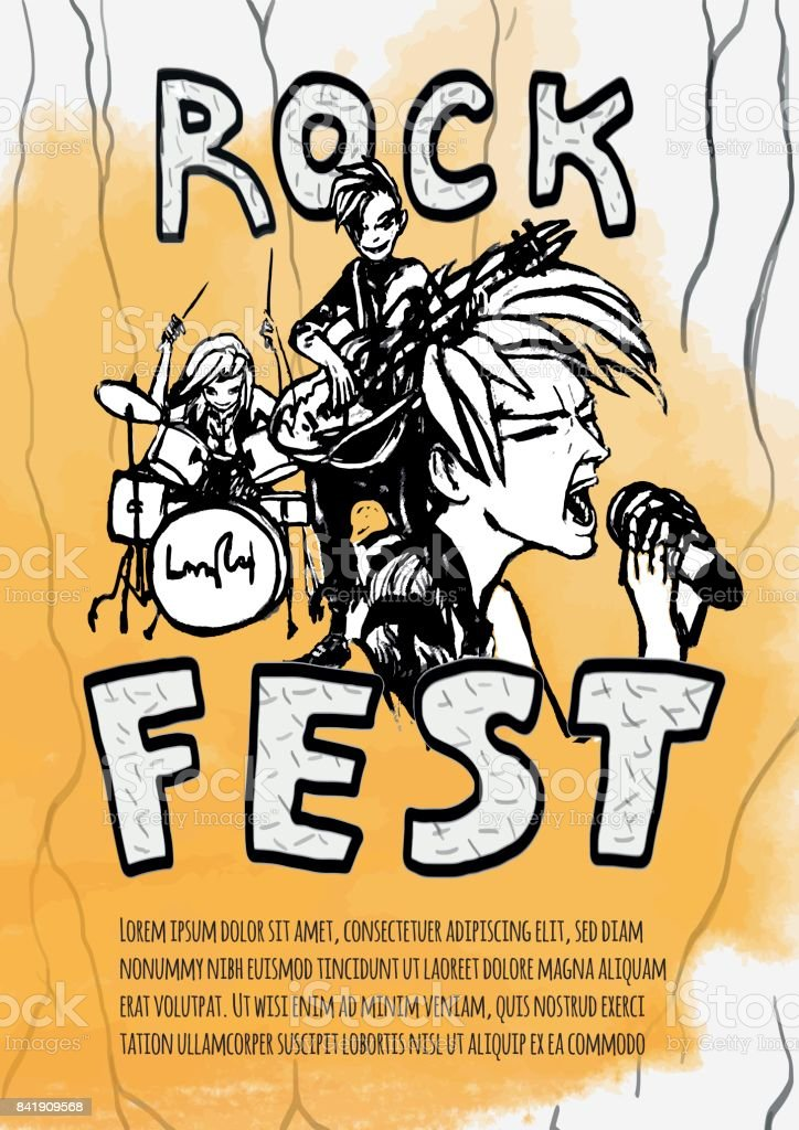 The poster for the rock festival of heavy music . Guitarist, drummer and singer on a yellow background. Rock band. Vector illustration.