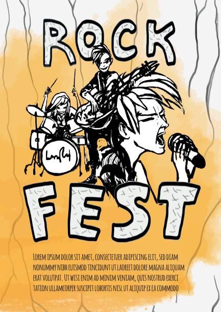 L'affiche pour le festival de rock de la musique heavy. Guitariste, batteur et chanteur sur fond jaune. Groupe de rock. Illustration vectorielle. - Illustration vectorielle
