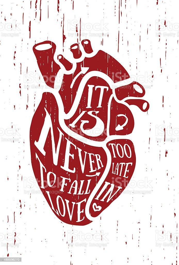 Ilustración de El Cartel En Estilo Vintage Con Rojo Corazón Humano ...