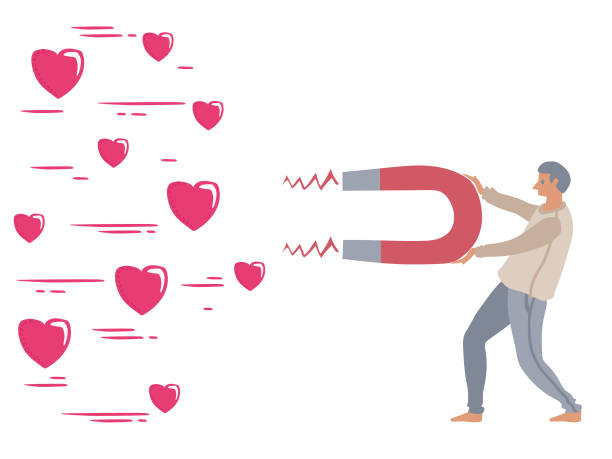 The power of influencer marketing is like the magnetic field that drags customer's love icons to the business vector art illustration