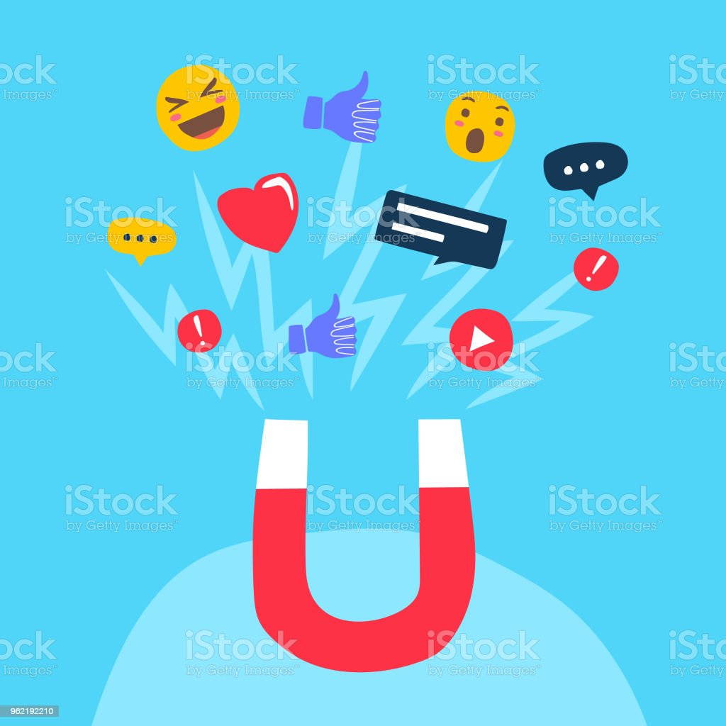 The power of influencer marketing is like the magnetic field that drags customer's like icons to the business vector art illustration