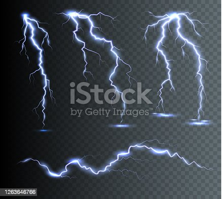 istock The power of lightning and shock discharge, thunder, radiance. Thunder bolts isolated. 1263646766