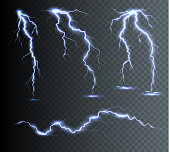 Vertical lightning bolts in the sky. Effect of glow and spark, vector art and illustration.