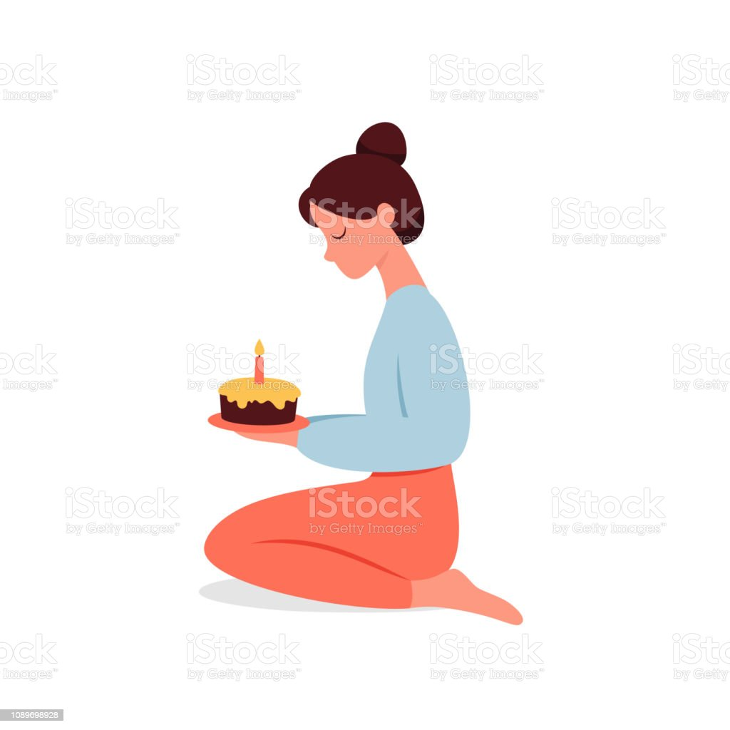 Magnificent The Pretty Girl Makes A Wish By Holding A Birthday Cake With One Funny Birthday Cards Online Elaedamsfinfo