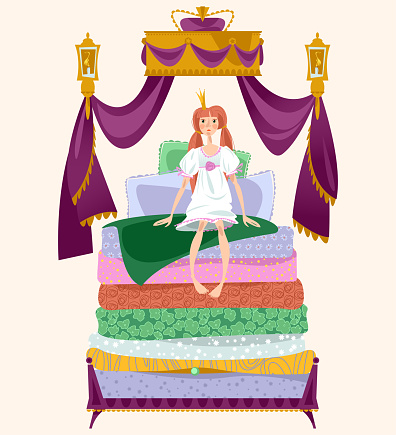 The Princess and the pea. A girl is sitting on a pile of mattresses under Royal canopy.