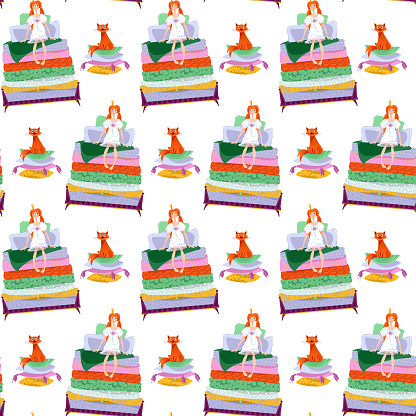 The Princess and the pea. Girl is sitting on a pile of mattresses and cat is sitting on a pile of pillows. Seamless background pattern.