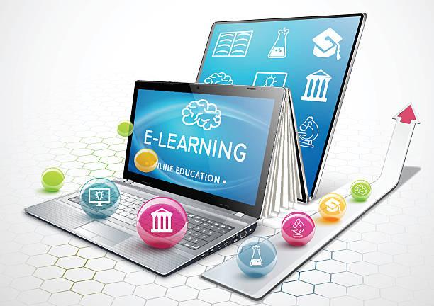 stockillustraties, clipart, cartoons en iconen met the process of education. laptop as an ebook. online education. - e learning