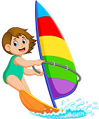illustration of the professional girl is standing sailing boat