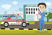 The  professional medical team for health life concept with cartoon, anime and background  - vector illustration Eps 10.
