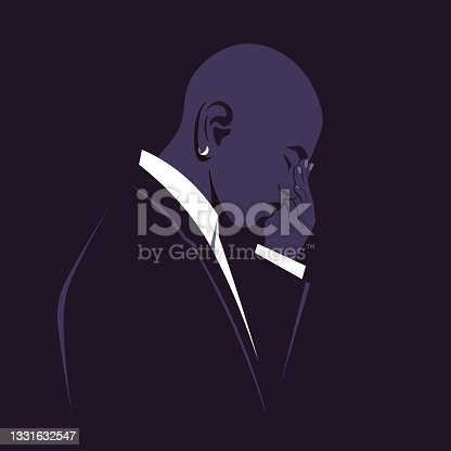istock The profile of a sad African man. The guy is desperate. A nervous breakdown. 1331632547