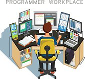 The programmer writes code. Vector illustration
