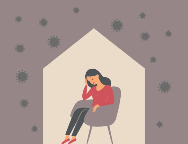 The psychological impact of coronavirus quarantine lockdown. Woman sitting alone inside her house, feeling stress emotion, depression. vector art illustration