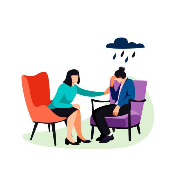 bildbanksillustrationer, clip art samt tecknat material och ikoner med psykologen uppmuntrar patienten. - emotionellt stöd