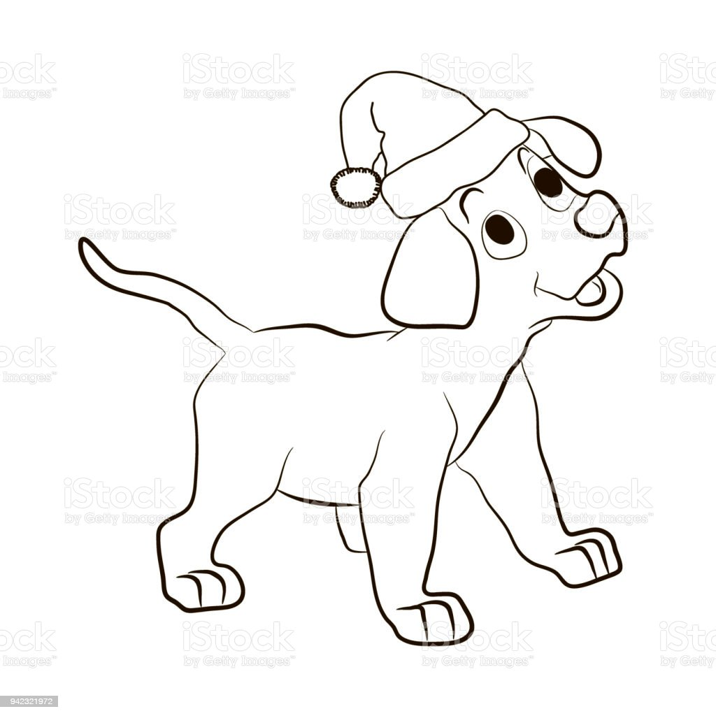 The Puppy In The Hat Of Santa Claus Smiles Animals Coloring Pages ...
