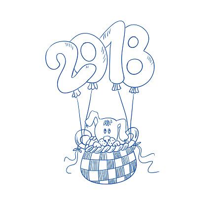 Valpen Flyger I Korgen Av Ballongen Siffror 2018 Barn S Målarbok Handritade Illustration Vektorgrafik Och Fler Bilder På 2018