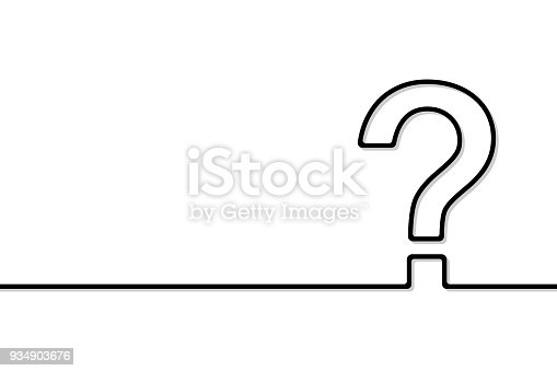 The question mark is made in line-art. Vector illustration.