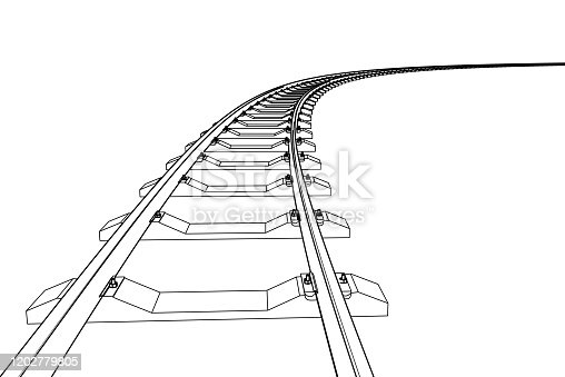 The railway going forward. 3d vector illustration on a white background.