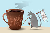 """The rat comes with a bucket with a cocktail roll and a flag that says """"Coffee Day."""" Large ceramic mug with black coffee. Vector illustration on the theme of international coffee day."""