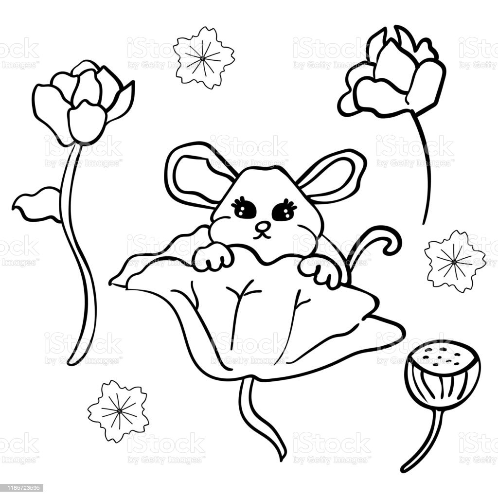 The Rat In The Chinese Style Symbol Of The New Year 2020 Cartoon Style Coloring Page Or Book For Children Adults Vector Vector Illustration Stock Illustration Download Image Now Istock
