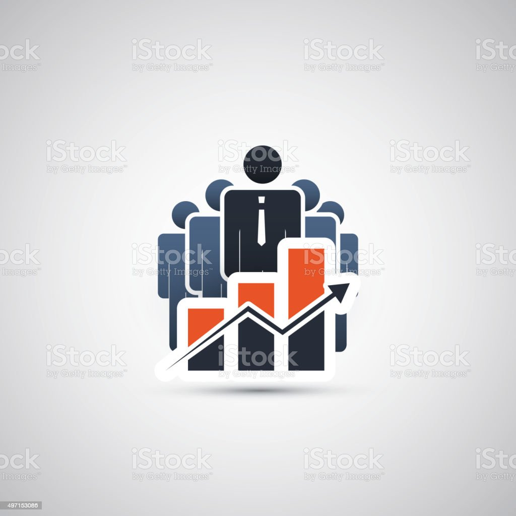 The Real Leader - Business Men Icons vector art illustration