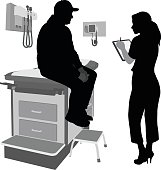 A vector silhouette illustration of a female nurse writing down the symptoms of a male patient who is in an exam room.